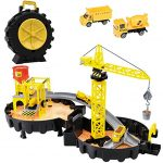 Construction Site Toy with Mini Tower Crane Engineering Kids Playset in Wheel Car Parking Garage | Includes Tire Shape Track Station Travel Case, 2 Diecast Vehicles (Dump Truck & Cement Mixer)