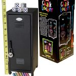 Deluxe Games and Puzzles Boys Chalk Mini Toy Locker in Black with Colored Chalk and FIVE Bonus 6-Sided, Color Dot Dice || Bundled Items