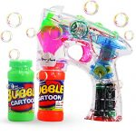 Theefun Transparent Bubble Gun Shooter Blower Machine with LED Lights,Sound Effect,Batteries, and Extra Bottle Refill ( Color Random)