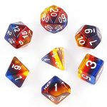 Polyhedral DND Dice Sets - Hengda D&D Dice for Dungeons & Dragons Pathfinder Table Gaming Dice Collections with Bags (Burning Cloud Aurora Gradients)