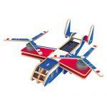 Wenasi 3D Wooden Jigsaw Puzzle Construction Kit, Educational Solar Energy Woodcraft Assemble DIY Airplane Craft Toy Kit (Fish Eagle)