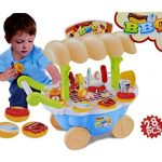 Little Treasures Grill BBQ Cart Play Set (28 Pieces) Barbecue Grilling Play Food and Accessories for Kids, Mini Sized Toy