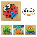 MingYuHui 4 pcs 3D Wooden Puzzles Jigsaw Educational Toys Puzzle for Toddlers Adult Kids 1-5 years(Pack of 4) (Ladybug combination)