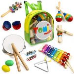 18 pcs Musical Instruments Set for Toddler and Preschool Kids – Tomi Music Toy - Wooden Percussion Toys for Boys and Girls Includes Xylophone - Promotes Early Development and Educational Learning.