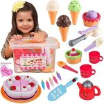 FUNERICA Pretend Play Food Ice Cream - Toy Food Desserts Cake - Play Tea set - with Beautiful Storage Box | Great for any Toy Kitchen Set or for Birthday Party