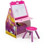 Delta Children Activity Center with Easel Desk, Stool, Toy Organizer, Disney Princess