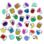 Colorful Rhinestone Rings Bulk Party Pack Of 144 Plastic Jewel Rings