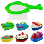 Fajiabao Bathtub Toy Floating Boat Swimming Pool Water Beach Tub Toys with Model Boat Net Bath Toy Game for Kids Girls Boys 6M+