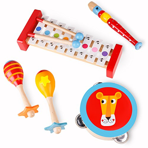"USA Toyz Toddler Toys Wooden Musical Instruments - ""Band in a Box"" 4 Piece Wooden Musical Toys Kids"