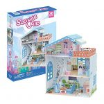 Seaside Villa Doll House Collectible DIY Family Fun Educational 3D Assembly Puzzle Model Toy 112 pieces