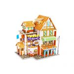 3D Paper Board Puzzle Early Learning Construction Assemble Toy Christmas Baby Educational Jigsaw 3D Building Model Kit Kids Children Boys Girls Gifts -#2 (Hotel)