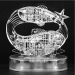 45 pcs 3d Crystal Puzzle Toys Deluxe Children's Assembly Animal Puzzle Toys, Christmas Gift/ New Year Gift/ Birthday Present for Kids (The Zodiac White Pisces)