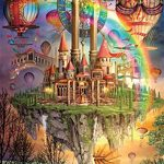 DDTOP 1000 Piece Size 30 x 20 Inch Colorful Basswood Premium Wooden Jigsaw Puzzle Ciro Marchetti Tarot Town Fantasy Rainbow Island Hot Air Balloons Palace Puzzle