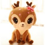 Plush Deer Toys Dolls Embroidery Stuffed Animal Toys Gift for Kids Baby Decorative Pillow Cushions