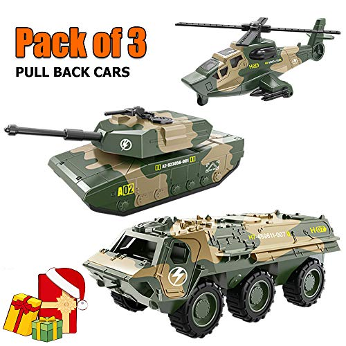 Bootaa 3 Pack Car Toys, Army Toy, Pull Back Vehicles, Tank, Helicopter, Armored Vehicle, Military Vehicles Toys,Pull-Back and Go Cars,Pullback Racing Cars Pack, for Kids/Boys/Toddlers/Baby/Girl