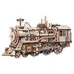 ROKR 3D Wooden Puzzle-Self Propelled Mechanical Model-DIY Building Kits-Brain Teaser Games-Best Gift for Boyfriend or Husband on Birthday/Anniversary/Valentine's Day/Christmas(Locomotive)