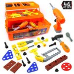 Big Mo's Toys 46 Piece Toy Tool Box and Kid's Tool Kit – Includes Drill, Hammer, Saw, Tri Level Case and Many Construction and Building Tools and Accessories