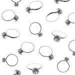 Super Z Outlet Silver Faux Diamond Engagement Rings for Wedding Table Scatter Decorations, Party Supply Favor Accents, Cupcake Toppers, Arts & Crafts (12 Pack)
