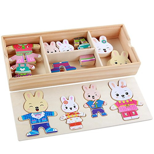 callm Educational Toy,Cartoon 4 Rabbit Bear Dress Changing Jigsaw Puzzle Wooden Toy (B)