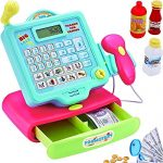FUNERICA Durable Play Cash Register Toy Set for Boys & Girls - with Pretend Mic, Scanner & Calculator, Play-Money and More - Pretend Play Supermarket Toy Cashier
