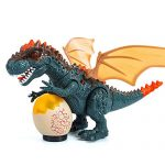 Womdee Walking Dinosaur That Roar with Light, Intelligent Induction T-Rex Dinosaur Figure Toy with Egg, Lights, Sound, Realistic Movement, Battery Powered, Xmas Dinosaur Gift for Kid Age 3+