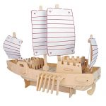 MIFX Woodcraft Construction Kit gift for children color design educational DIY toys 3D Wooden jigsaw puzzle assembly handmade wooden model (The-russian-ship)