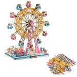 3D Wooden Puzzle DIY Ferris Wheel Puzzle 3D Jigsaw Model Gifts for Kids and Adults (295 PCS)