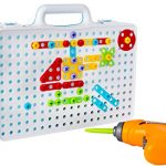 Drill & Play Creative Educational Toy With Real Toy Drill - Mosaic Design Building Toys Tool Kit