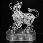 41 pcs 3d Crystal Puzzle Toys Deluxe Children's Assembly Animal Puzzle Toys, Christmas Gift/ New Year Gift/ Birthday Present for Kids (The Zodiac White Taurus )