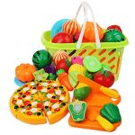 Cutting Play Food Kitchen Pretend - Grocery Basket Toys for Kids 26pcs Children Girls Boys Educational Early Age Basic Skills Development, Include Fruits Vegetables Pizza Knife Mini Dishes