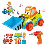 Maxxrace Take Apart Toy Construction Car, STEM Toys 25 Pieces Assembly Toy Vehicles with Drill Tool, Lights and Sounds, for Kids Aged 3+
