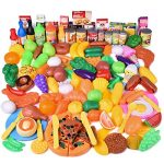 FUN LITTLE TOYS 128 pcs Play Food for Kids Kitchen, Pretend Play Plastic Food Toy for Toddlers