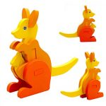 callm Educational Toy,Puzzle Toy Mini 3D Puzzle Kids Educational Funny Toy Wooden Colorful Jigsaw Gift-Tiger/Kangaroo/Squirrel