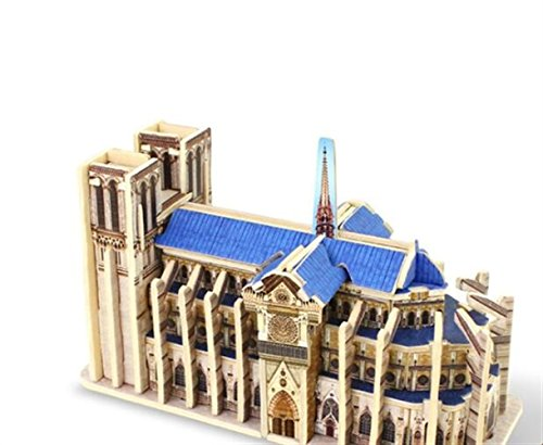 Jigsaw Toy Puzzles Educational Toy Creative Wooden 3D Building Puzzle Early Learning Toy Fantastic Gifts for Kids(Notre Dame De Paris)