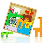 Wooden Tetris Puzzle Toys 3D Animal Set Kids Colorful Learning Educational Blocks Stack Shapes Brain Teasers Preschool Chunky Montessori Toy Games