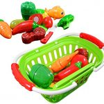 CoolToys Fruit and Vegetable Cutting Playset in Plastic Grocery Basket (13 Pieces)