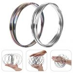 LHFY Fidget Magic Ring, Kinetic Spiral Flow Ring Toys with 3D Novelty Shape, Stress Relief and Decompression, Interactive Multi-Sensory New Toys.Silver&Rainbow.(2 Pack)