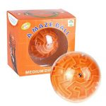 Magic 3D Maze Ball Interesting Labyrinth Puzzle Game Challenging Toy Gift For Kids (Orange)