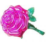 callm PuzzleToy,3D Crystal Puzzle Cute Rose Model DIY Gadget Blocks Building Toy (Purple)