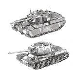 2pcs 3D Metal Puzzle MK50 + JS-2 Tank Model Assemble Kits DIY 3D Laser Cut Jigsaw Toys I21141-I21142