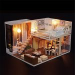 Girls Dollhouse DIY Wood Jigsaw Puzzle Kit - Gbell Miniature 3D Dolls House with Furniture Light Festive Gift-Waiting Handmade Puzzle Toys Set Birthday Gifts for Kids Men Women Adults (A)