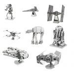 Metal Earth 3D Model Kits - Star Wars Complete Set of 8 - X-Wing - Destroyer Droid - Imperial Star Destroyer - TIE Fighter - R2-D2 - AT-AT - Millenium Falcon - Darth Vader's TIE Fighter