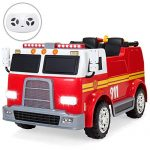 Best Choice Products 12V Kids Fire Engine Truck Ride On Toy Emergency Vehicle w/ 2.4MPH Max Speed, Remote Control, USB Port, 2 Speeds, Water Hose, LED Lights, Realistic Sounds, Intercom - Red