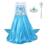 DreamHigh Girls Princess Elsa Costume Dress with Crown Wand Size 9-10 Years