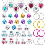 WATINC 52Pack Princess Pretend Jewelry Toy, Girl's Jewelry Dress Up Play Set, Included Necklaces, Rings, Earrings and Bracelets, 52 Pack