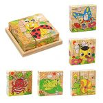 ZDYWY 9 Piece Wooden Jigsaw Blocks 3D Cube Puzzle Toy for Kids Children Boys Girls – Insect Spider Grasshopper Ladybug Butterfly Snails Bee