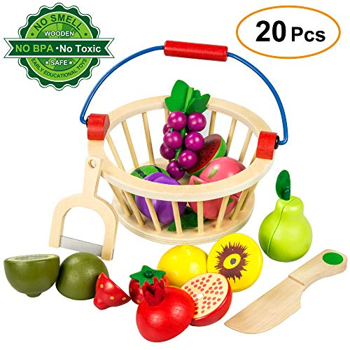 Ylovetoys Play Food Pretend Cutting Fruit Play Food Set Wooden Magnetic Kitchen Cooking Toddler Toys with Basket Early Educational Learning Toy for Kids Boys & Girls