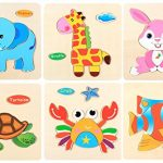 XADP 6 Sets Wooden Puzzles-Giraffe,Elepant,Rabbit,Tortoise,Crab and Fish Puzzles for Kids Toddlers Boys and Girls Age 3 4 5
