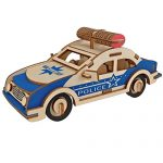 Laser Cut DIY Assembly Puzzle 3D Wooden Model Toy Handmade Educational Woodcraft Wood Model Kit Toy Set for Kids Youth Teenage and Adult (Police Car)