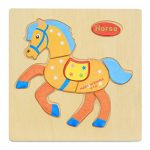 bromrefulgenc Intellectual Toy,Puzzle Jigsaw Kids Toy,Wooden 3D Puzzle Jigsaw Kids Children Cartoon Animal Intelligence Educational Toy - Horse#